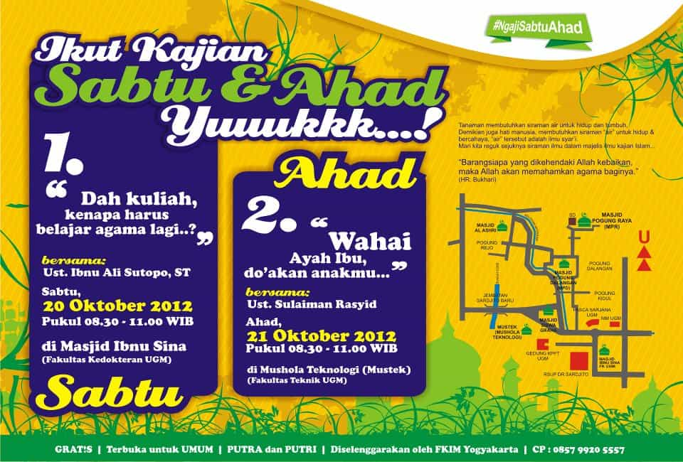 Ngaji Sabtu-Ahad di Sekitar Kampus UGM (20-21 Oktober 2012, Yogyakarta)