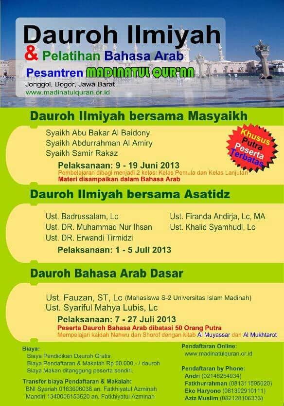 Dauroh Ilmiyah Dan Pelatihan Bahasa Arab PP Madinatul Qur'an (Bogor, 9 Juni - 27 Juli 2013)