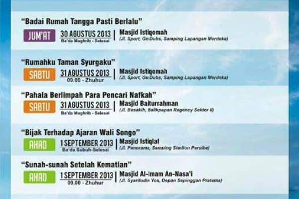 Kajian Umum Bersama Ust. Zaenal Abidin, Lc. (Balikpapan, 30 Agustus – 1 September 2013)