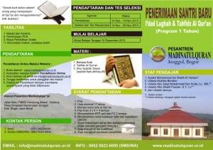 Penerimaan Santri Baru I'dad Lughah & Tahfidz Al Qur'an, PP Madinatul Qur'an Jonggol