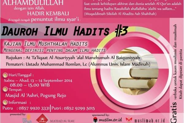 Daurah Ilmu Hadist (Yogyakarta, 13-14 September 2014)