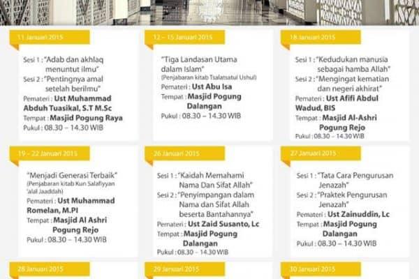 Jadwal Kajian Pesantren Liburan Mahasiswa 2015 di Yogyakarta