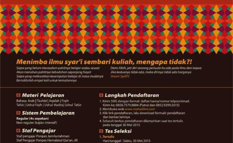 Penerimaan Santri Baru Ma'had Al 'Ilmi Yogyakarta Angkatan XII TA 1436/1437H