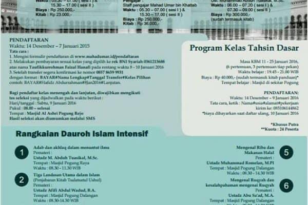 Program Pesantren Liburan Mahasiswa 2016 di Yogyakarta (10-31 Januari 2016)