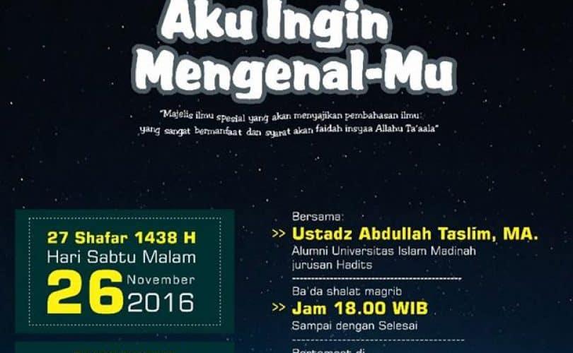 Safari Dakwah Ustadz Abdullah Taslim, MA di Yogyakarta (26-27 November 2016)